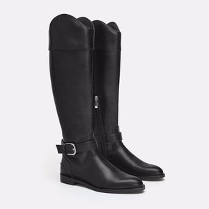 Zara Vegan Leather Tall Riding Boots with Buckle